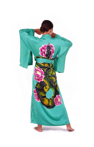 Silk kimono with Serpent motif - 100% silk robe