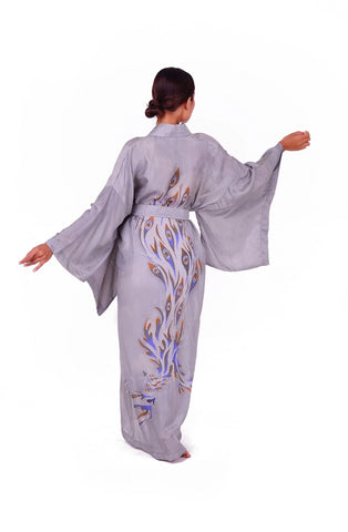 Silk kimono with Peacock feathers motif - 100% silk