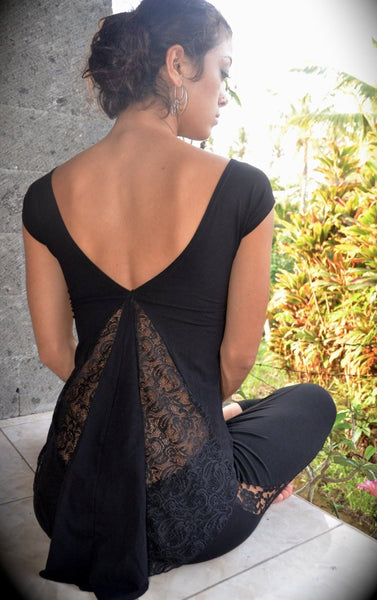 Lace top with flattering high-low cut, cap sleeves & a round neckline. Slow and sustainable fashion.