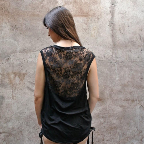 Loose fitted top with low back & lace panel.  Made of light weight bamboo & high quality lace. Slow and sustainable fashion.