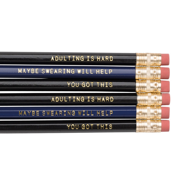 Adulting is Hard / You Got This / Maybe Swearing Will Help pencils