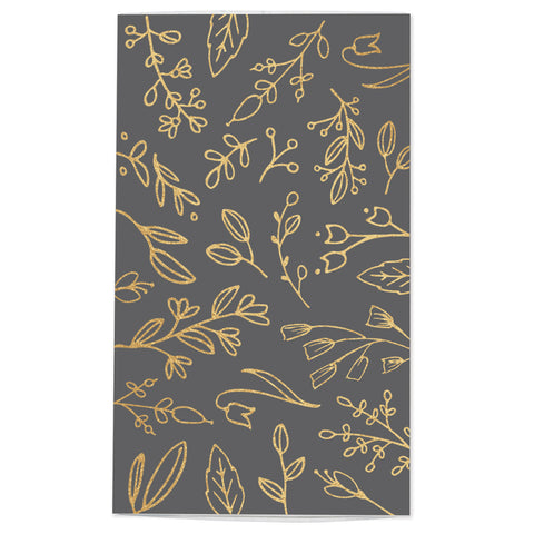 Large Dark Gray & Gold Floral Match Box