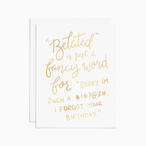 Belated Birthday gold foil card