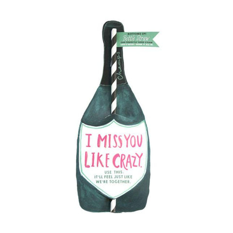 Miss You Wine Straw Card