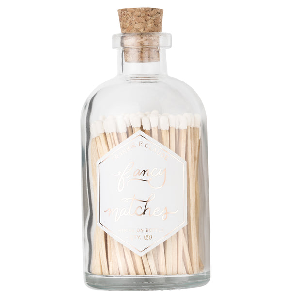 Large White Match Jar