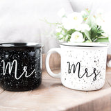 Mr. and Mrs. hand lettered ceramic campfire mug set