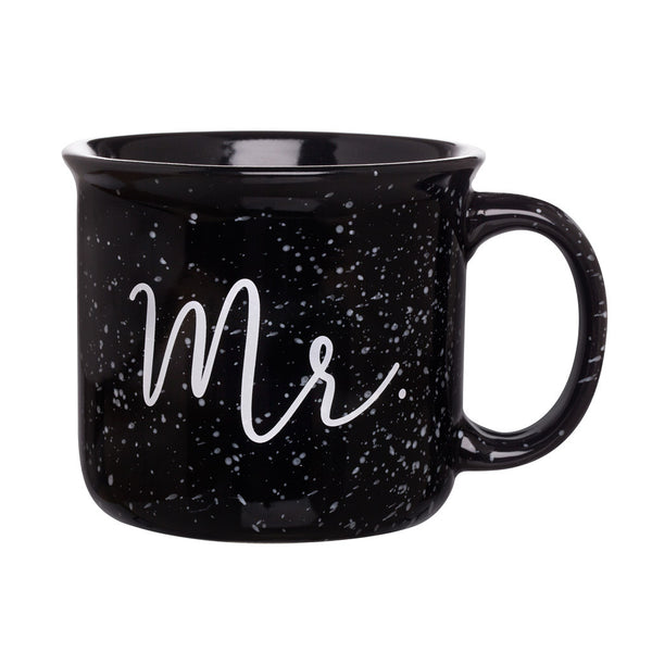 Black hand lettered mr. campfire mug