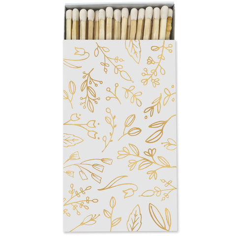 Large Gray & Gold Floral Match Box