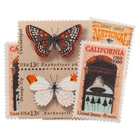 Orange + Brown Vintage Postage