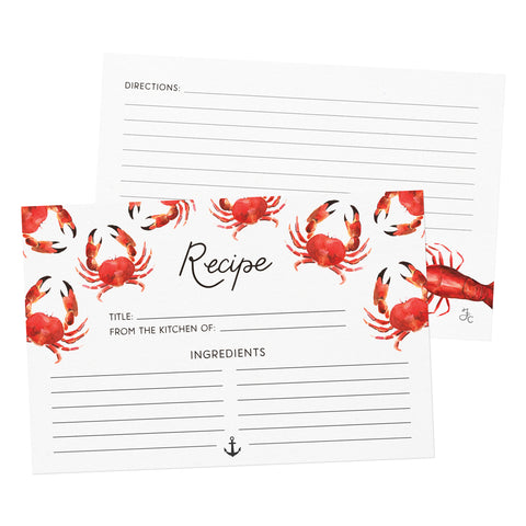 Nautical Seafood Recipe Cards