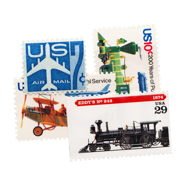 transportation themed vintage unused postage stamps