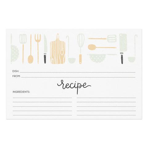 Utensils Recipe Cards