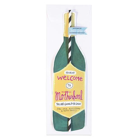 Welcome to Motherhood Wine Straw Card
