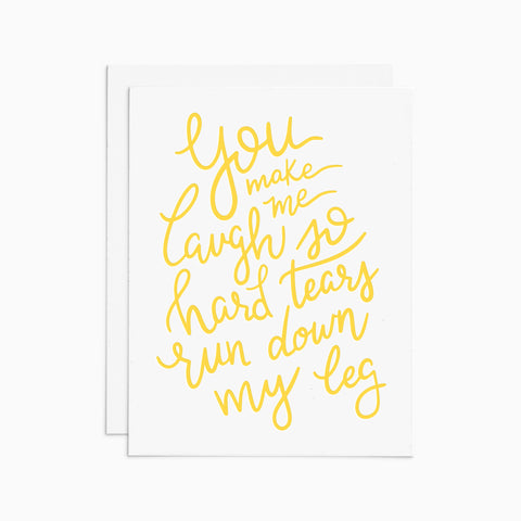 Laugh So Hard letterpress card