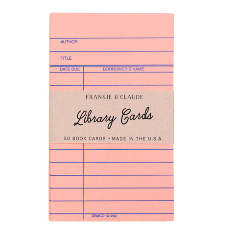 Coral Pink Library Cards