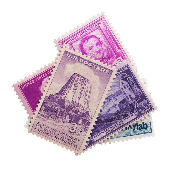 Purple vintage unused postage stamps