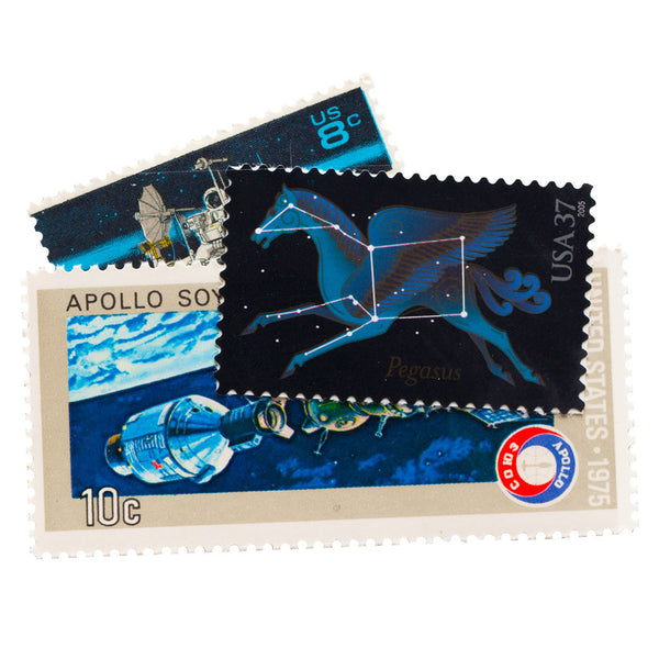 Space themed vintage unused postage stamps
