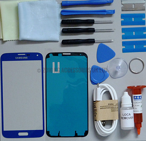 Samsung Galaxy S5 Replacement Screen Front Glass Repair Kit ROYAL BLUE