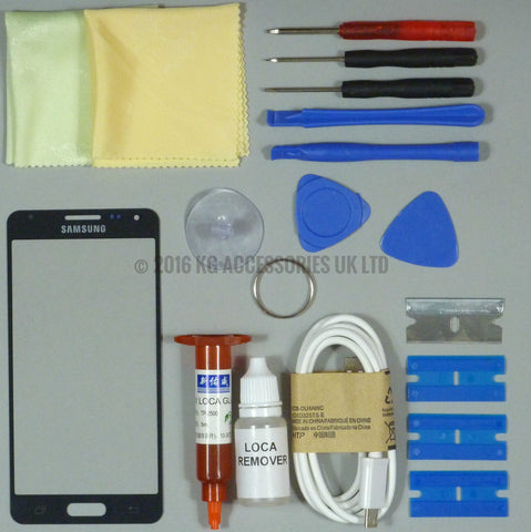 Samsung Galaxy Alpha G850 Front Glass Screen Replacement Repair Kit BLACK