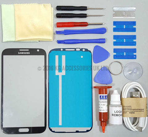 Samsung Galaxy Note 2 Replacement Screen Front Glass Repair Kit TITANIUM GREY