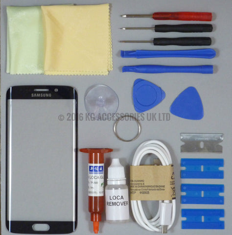 Samsung Galaxy S6 Edge Replacement Screen Front Glass Repair Kit BLUE