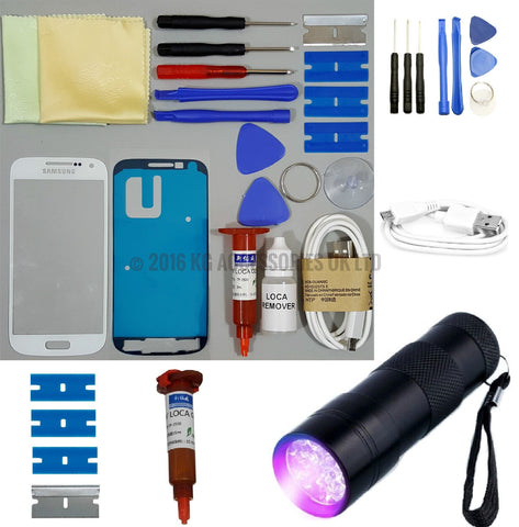 Samsung Galaxy S4 mini Front Glass Screen Replacement Repair Kit WHITE UV TORCH