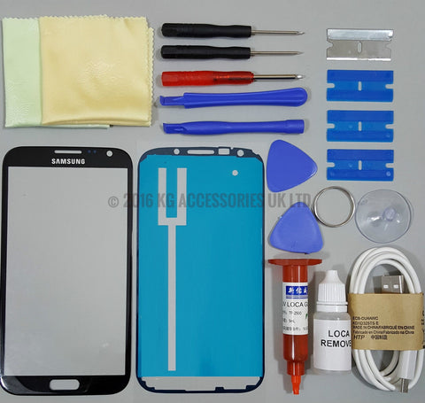 Samsung Galaxy Note 2 Front Glass Screen Replacement Repair Kit Black