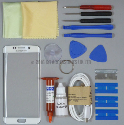 Samsung Galaxy S6 Edge Replacement Screen Front Glass Repair Kit WHITE