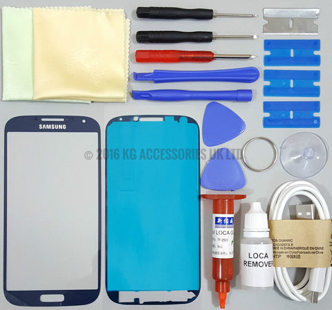 Samsung Galaxy S4 i9500 / i9505 Front Glass Screen Replacement Repair Kit BLUE