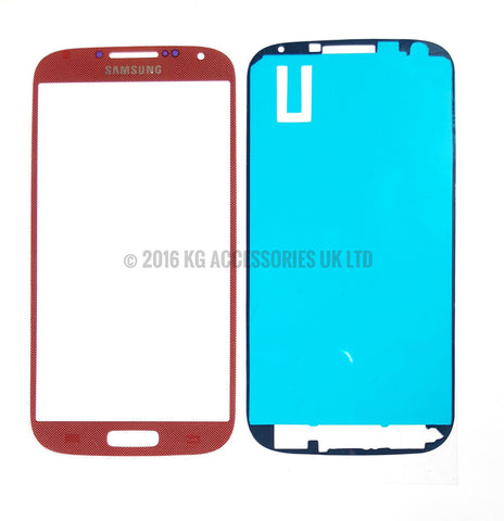 Samsung Galaxy S4 Front Glass Screen Replacement Repair Kit RED