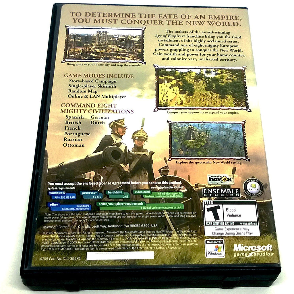 Age of Empires III for PC CD-ROM - Back of case