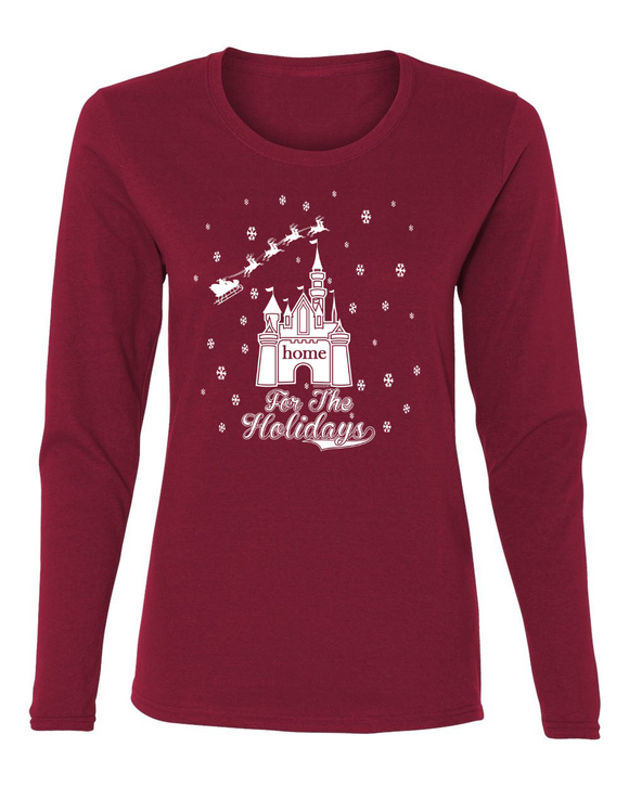 Home For The Holidays Ladies Christmas Long Sleeve T-Shirt