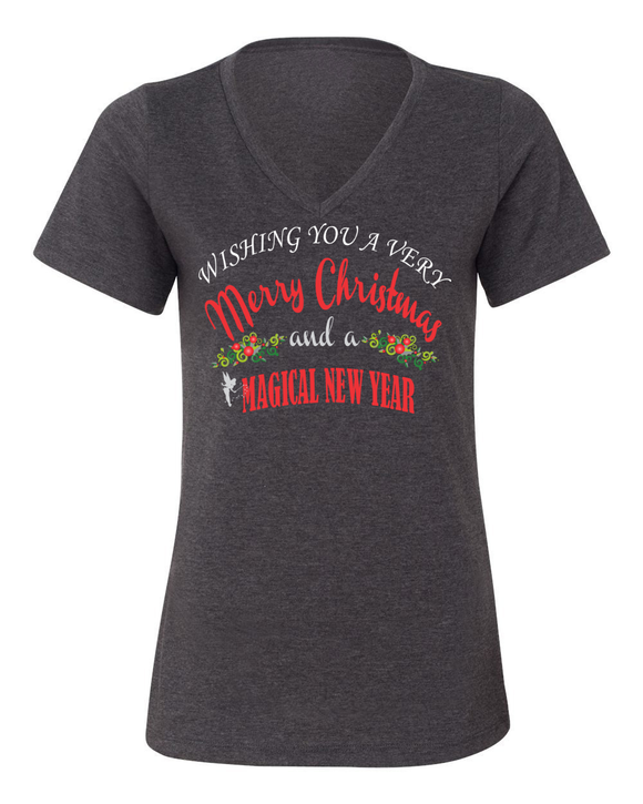 Wishing You A Very Merry Christmas And A Magical New Year Ladies T-Shirt