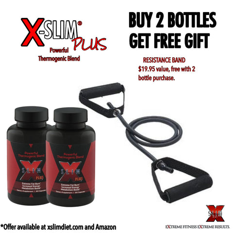 X-SLIM PLUS®: Powerful Fat Burner Capsules - 120 Count - (2 Month Supply) Receive Resistance Band ($29 value) FREE With Your Purchase.