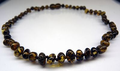 Amber Teething Necklace - Polished Black Green *SALE PRICE*