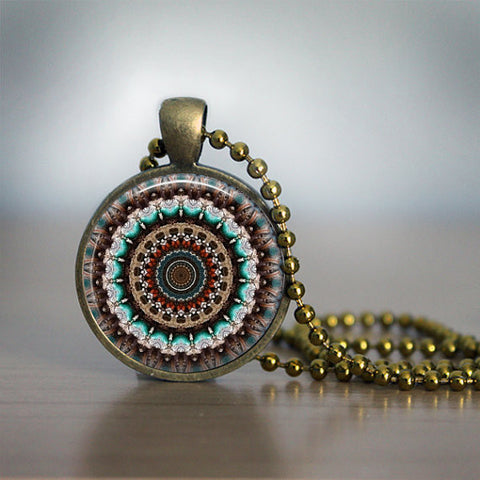 Hand crafted Round Glass Pendant set in Brass - L.Brown/Brown Mandala