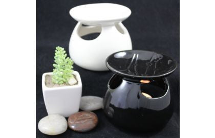 Ceramic Oil Burner (small with cutouts) - Black **SALE PRICE**