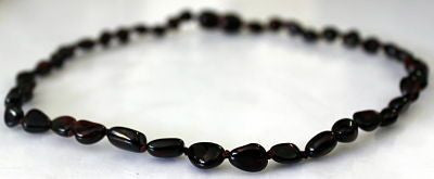 Amber Teething Necklace - Polished Bean Cherry *SALE PRICE*