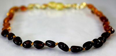 Amber Teething Necklace - Polished Bean Dew Drop *SALE PRICE*