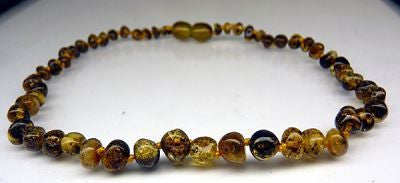 Amber Teething Necklace - Polished Forest Green *SALE PRICE*