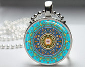Hand crafted Round Glass Pendant set in Silver - Turquoise Mandala