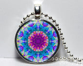 Hand crafted Round Glass Pendant set in Silver - Turquoise/Purple Mandala