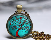 Hand crafted Round Glass Pendant set in Brass - Tree of Life Blue