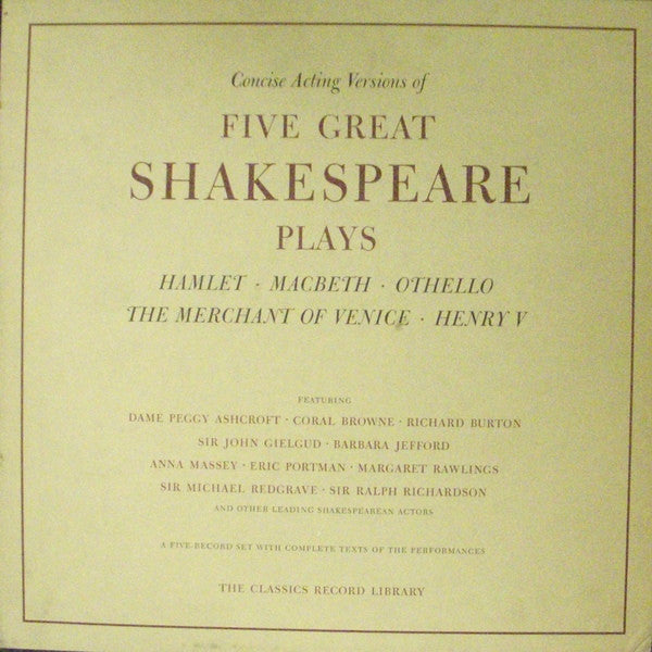 Five Great Shakespeare Plays 'Concise Acting Versions'