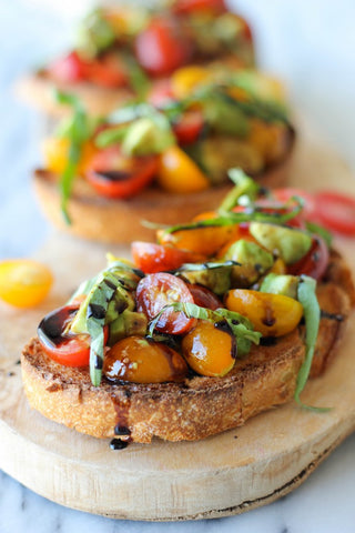 Avocado Bruschetta with Balsamic Reduction