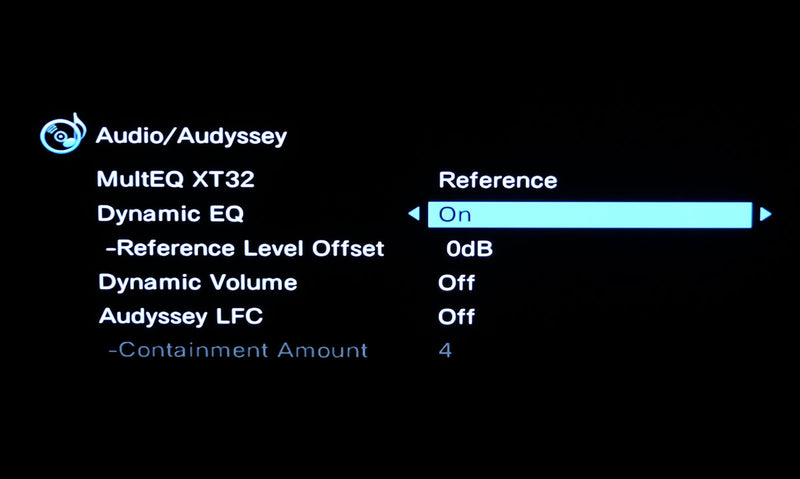 Home theatre receiver showing Audyssey Dynamic EQ setup item