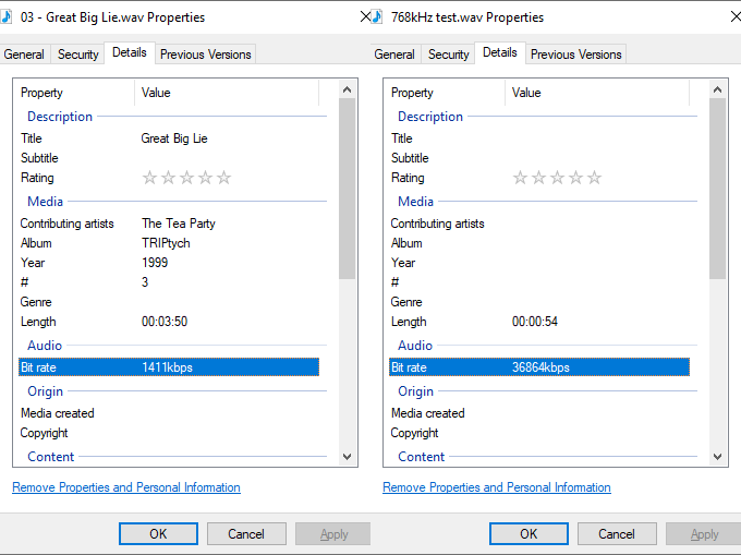 Windows dialogues showing music file bitrates