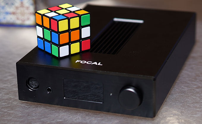 Focal Arche with Rubik's Cube for scale