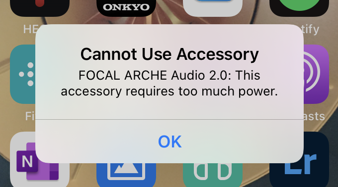 iPhone message about needing power