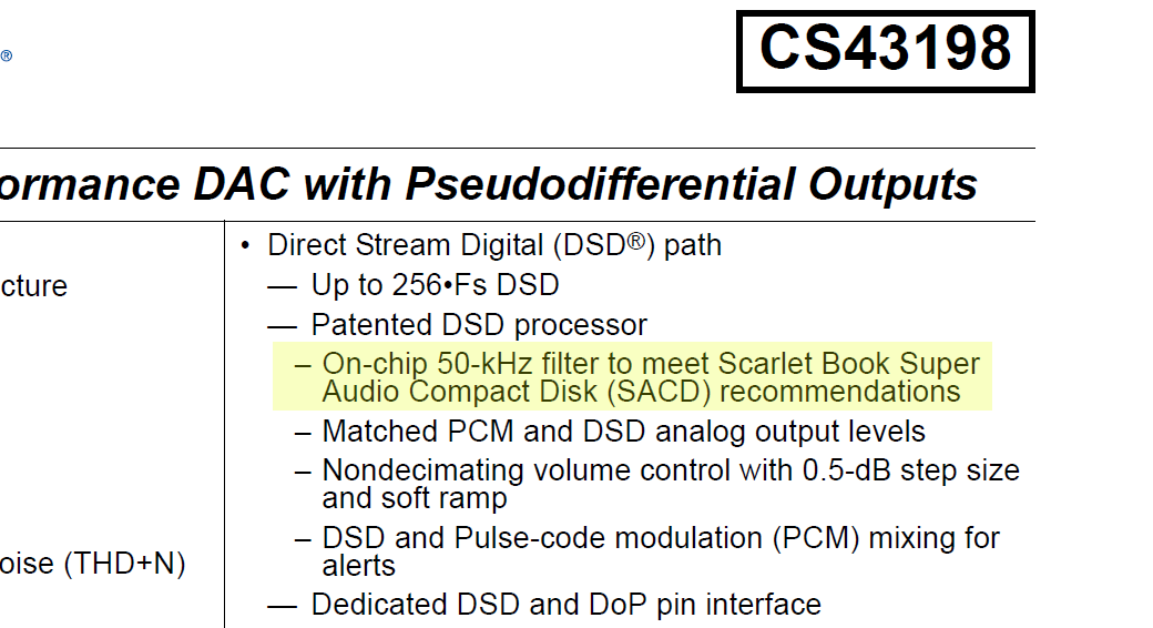 From the datasheet for the Cirrus Logic CS43198